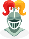 A cartoon of a medieval knight's helmet with colourful red and yellow feathers on the top.