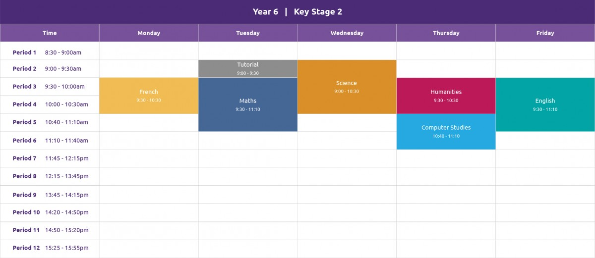 An example of a Year 6 alternative provision timetable showing a variety of lessons, spread across a typical week.